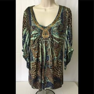 One World Live & Let Live Blouse Woman's Large